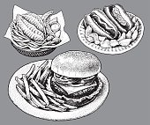 Fast Food, Hamburger, Hot Dog, Fish and Chips