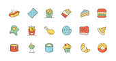 Hamburger, Pizza, Donut, Croissant, Cookies, Fried Egg, Fried Chicken, Cupcake, French Fries, Hot Dog, Pancake, Onion Rings, Biscuits, Barbecue, Chocolate, Sushi, Toast, Cake Icon Design