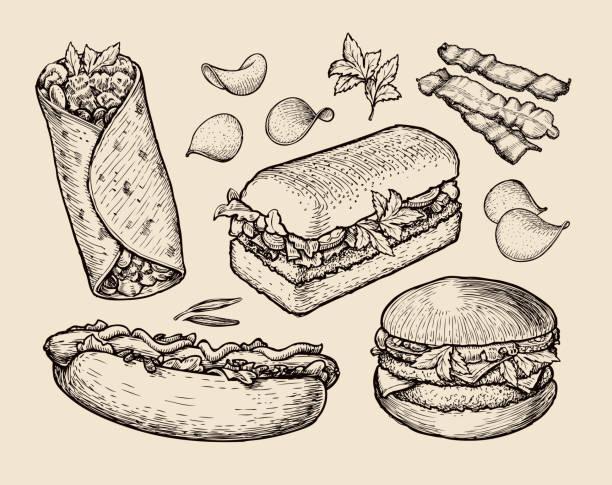 ilustrações, clipart, desenhos animados e ícones de comida rápida desenhado à mão cheesebúrguer, burritos, presunto, bacon, sanduíche quente - delicatessen