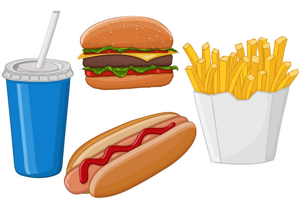 fast food. hand drawn colored sketch - cheeseburger stock illustrations