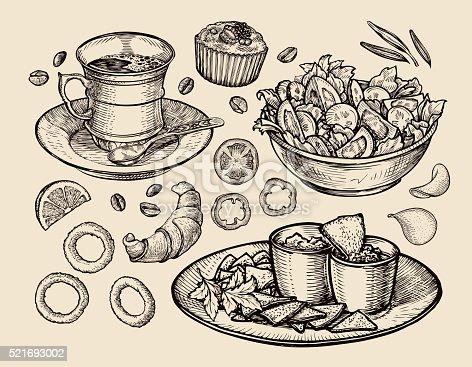 istock fast food. hand drawn cup coffee, tea, vegetable salad, nachos 521693002