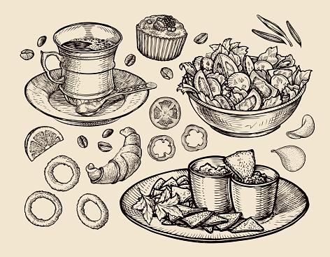 fast food. hand drawn cup coffee, tea, vegetable salad, nachos