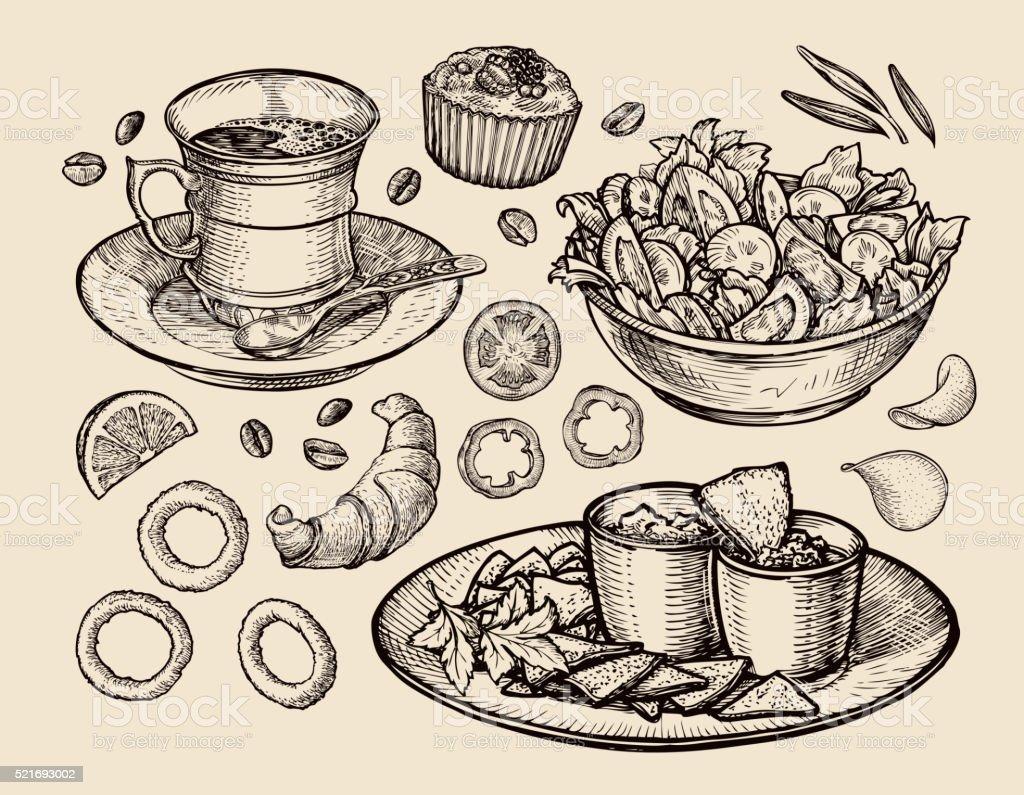 fast food. hand drawn cup coffee, tea, vegetable salad, nachos vector art illustration