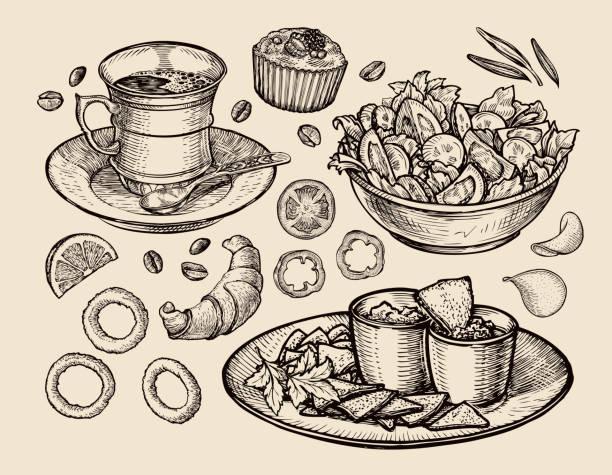 stockillustraties, clipart, cartoons en iconen met fast food. hand drawn cup coffee, tea, vegetable salad, nachos - salade