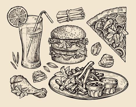 fast food. hand drawn pizza, hamburger, fries, burger, grilled chicken