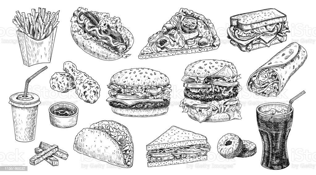 Fast Food hand getekend vector illustratie. Hamburger, cheeseburger, sandwich, pizza, kip, Taco, frites, Hot Dog, donuts, Burrito en Cola gegraveerde stijl, schets geïsoleerd op wit. - Royalty-free Aardappel vectorkunst