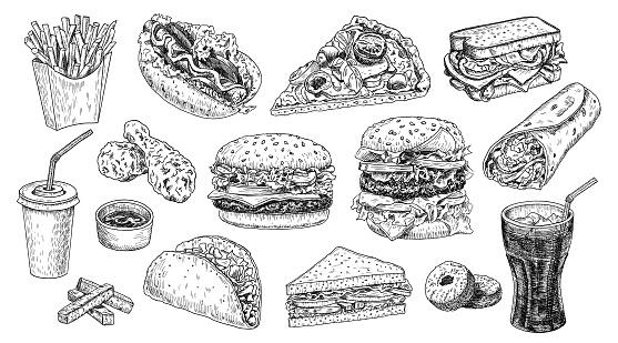 Fast Food Hand Getekend Vector Illustratie Hamburger Cheeseburger Sandwich Pizza Kip Taco Frites Hot Dog Donuts Burrito En Cola Gegraveerde Stijl Schets Geïsoleerd Op Wit Stockvectorkunst en meer beelden van Aardappel