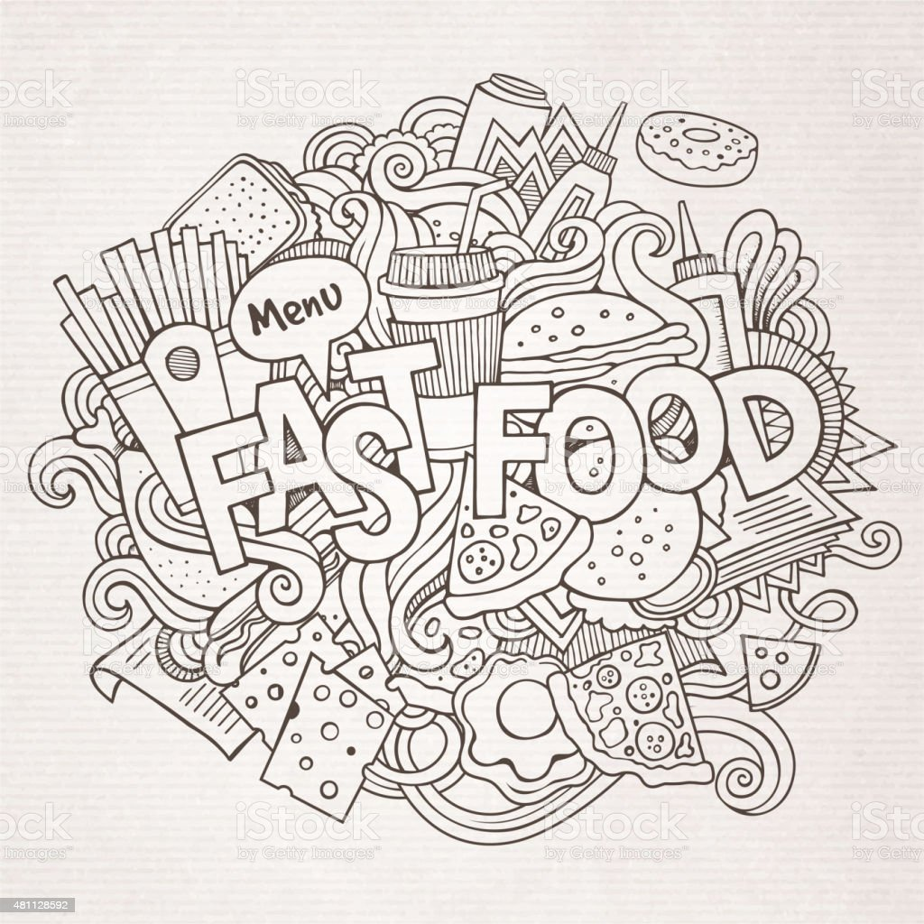 Fast Food Hand Lettering And Doodles Elements And Symbols Backgr