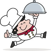 vector illustration of a running Chef holding a silver domed tray