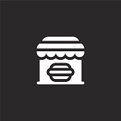 fast food icon. Filled fast food icon for website design and mobile, app development. fast food icon from filled urban building collection isolated on black background.