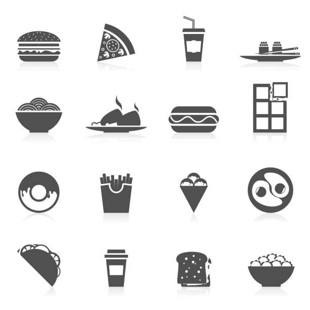 ikona fast food płaska - burger and chicken stock illustrations
