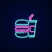 Fast Food Icon Neon Style, Design Elements