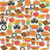 Fast food stickers icons seamless pattern with pizza icecream croissant  vector illustration