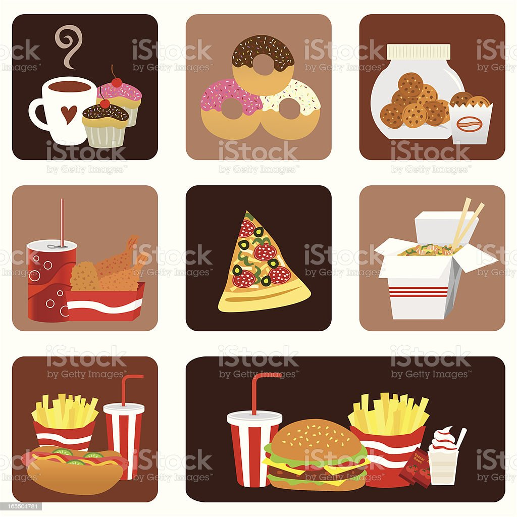 fast food icon set royalty-free stock vector art