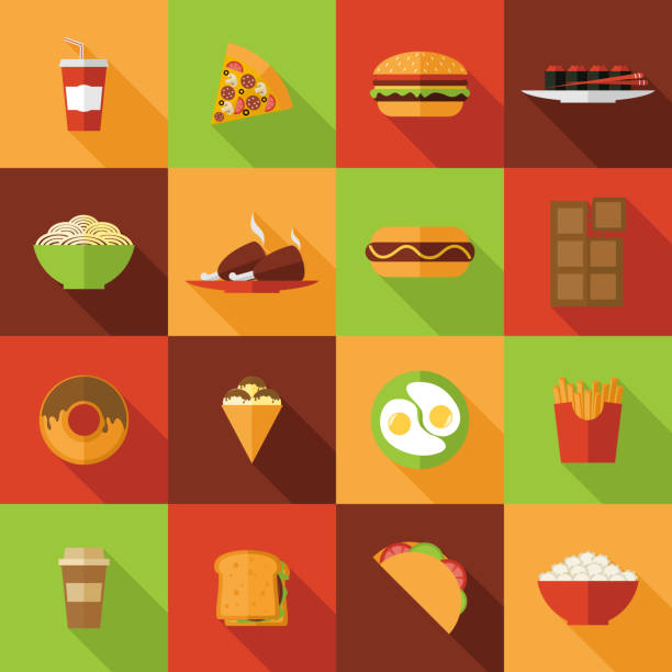 ikona fast food - burger and chicken stock illustrations