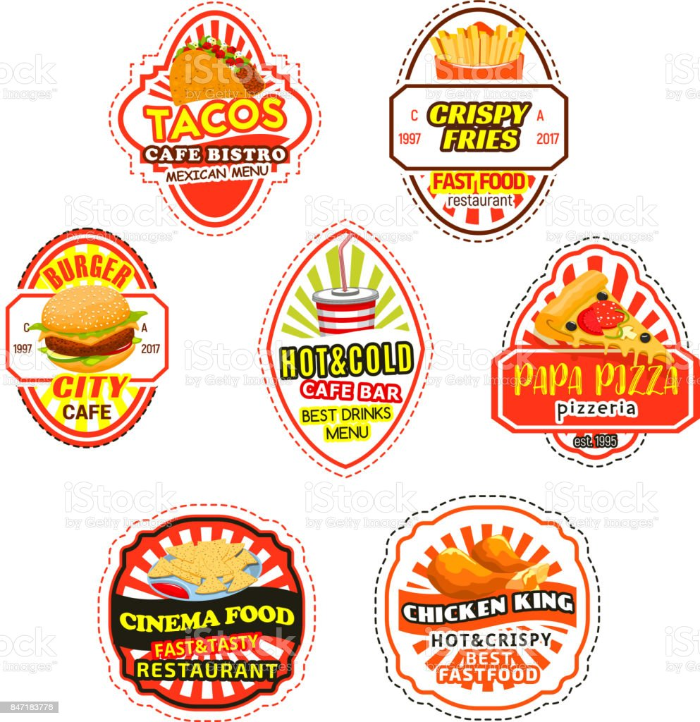 Fast Food Icons And Symbols Stock Vector Art More Images Of