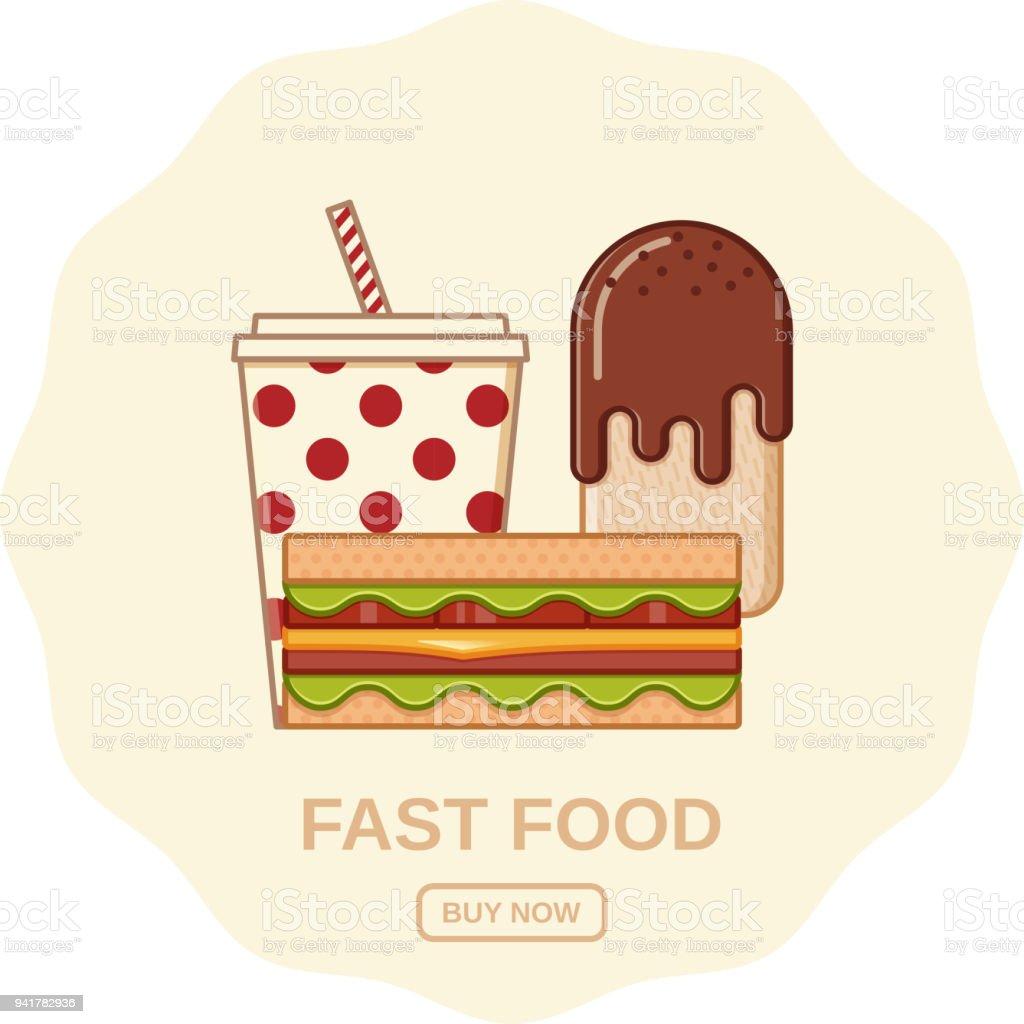 Fast food icons in flat line art design. Vector illustration.