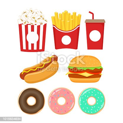 Fast food icons set. Burger, popcorn, french fries, soda, donut and hot dog colorful cartoon set.