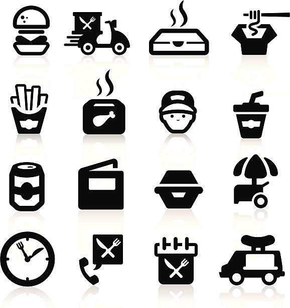 fast food icons set elegant series - junk food stock illustrations, clip art, cartoons, & icons