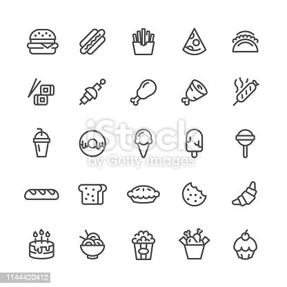 Fast Food Icons Set. Vector icons set.
