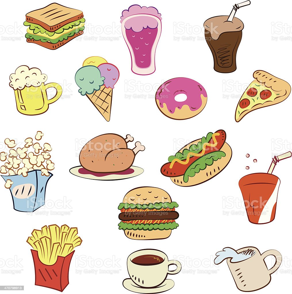 fast food icons set royalty-free stock vector art