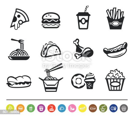 A set of 12 professional fast food icons.