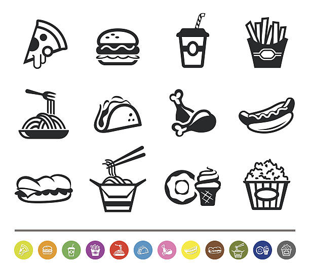 fast food icons | siprocon collection - junk food stock illustrations, clip art, cartoons, & icons