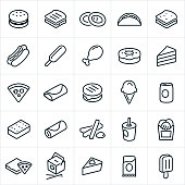 A set of fast food or junk food icons. The icons include a hamburger, grilled cheese sandwich, onion rings, taco, sandwich, hotdog, corn dog, chicken leg, doughnut, cake, pizza, burrito, ice cream cone, soda, ice cream sandwich, french fries, Chinese food, pie, candy bar and popsicle.