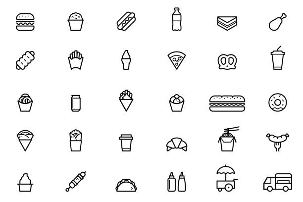 bildbanksillustrationer, clip art samt tecknat material och ikoner med fast food ikoner - crepe