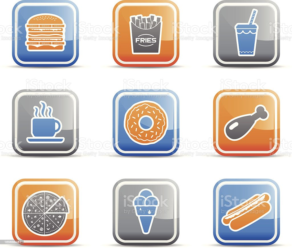 Fast Food Icons royalty-free fast food icons stock vector art & more images of blue