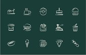 Illustration of fast food icons on the background.