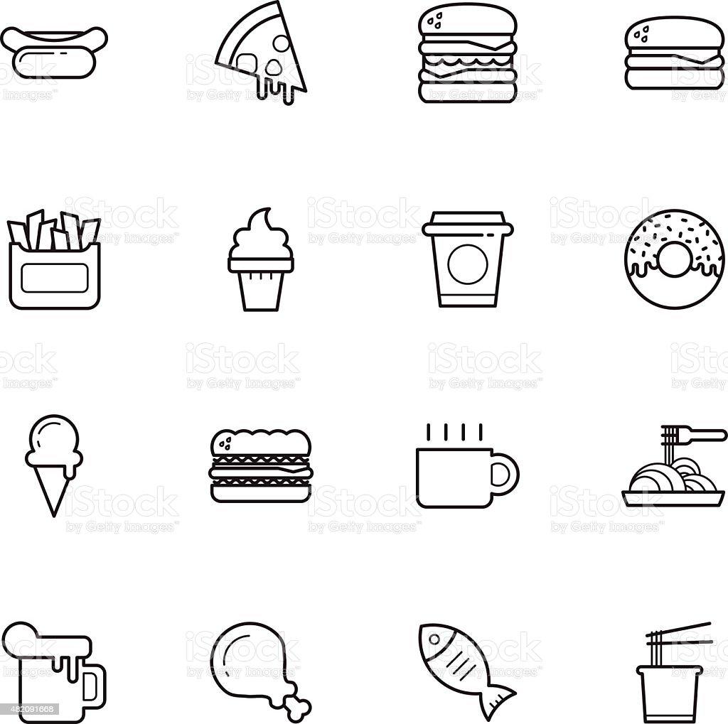 fast food icônes - Illustration vectorielle