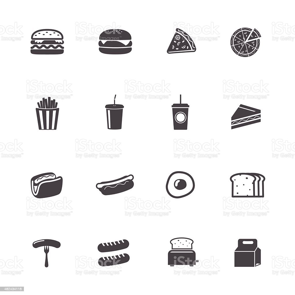 Fast food icônes - Illustration vectorielle