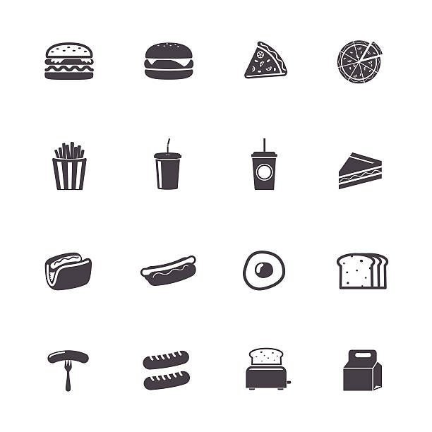 fast питания значки - cheeseburger stock illustrations
