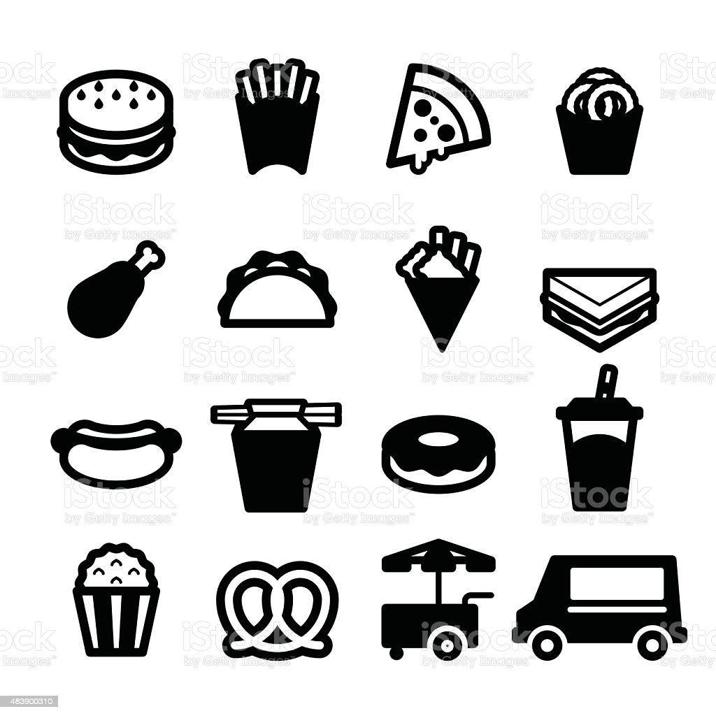 Fast Food Icons Stock Vector Art & More Images of 2015 ...