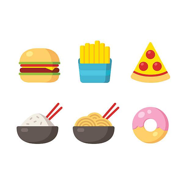 fast-food-icons - hamburger schnellgericht stock-grafiken, -clipart, -cartoons und -symbole