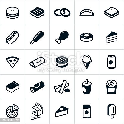 Icons representing fast food and junk food in general. The icons include a hamburger, hotdog, corndog, french fries, grilled cheese sandwich, onion rings, taco, fried chicken, sweets, donut, pastries, cake, pizza, burrito, ice cream, soda, Chinese food, candy bar and others.