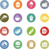 Illustration of fast food icons on the white.