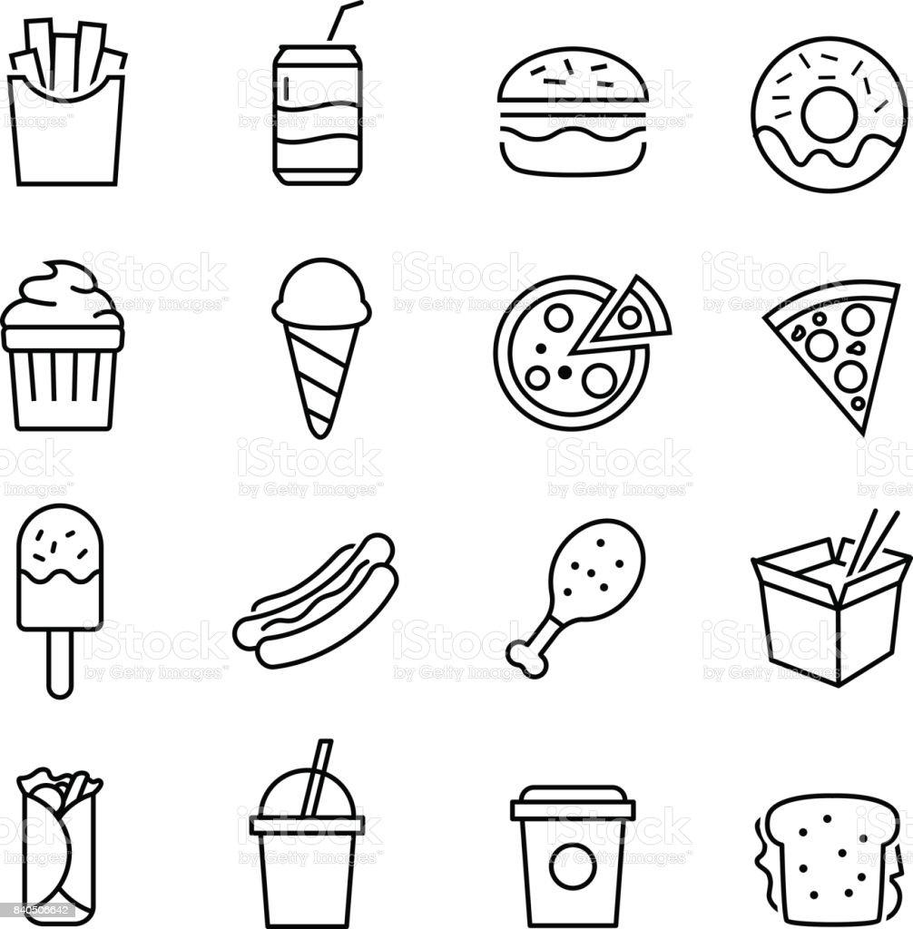 Ícones de Fast Food - ilustração de arte em vetor