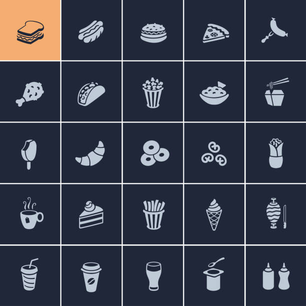 fast-food-icons  - scheibe portion stock-grafiken, -clipart, -cartoons und -symbole