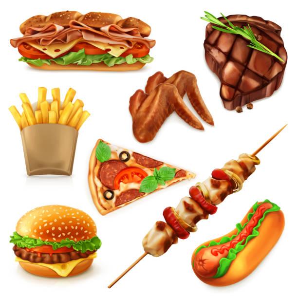 bildbanksillustrationer, clip art samt tecknat material och ikoner med fast food ikoner - cheese sandwich