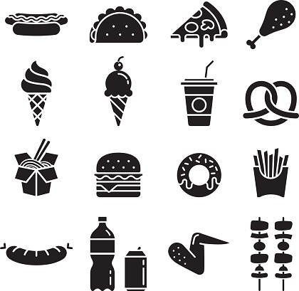 Fast food icons. Vector illustrations.