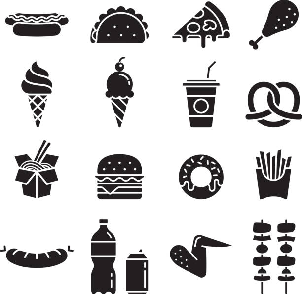 stockillustraties, clipart, cartoons en iconen met fastfood pictogrammen. vectorillustraties. - friet