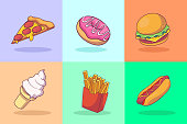 Fast food illustration concept collection. Vector illustration EPS 10