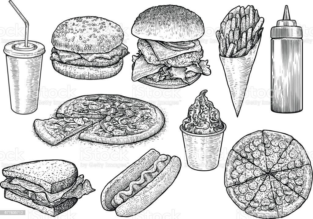 Ilustração de fast-food, desenho, gravura, tinta, linha artística, vetor - ilustração de arte em vetor