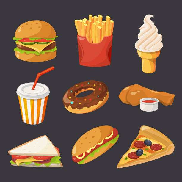 Fast food illustration in cartoon style. Pictures of burger, cold drinks, tacos and hotdog vector art illustration