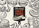 Fast food illustrations, burger, pizza, donut for restaurant.