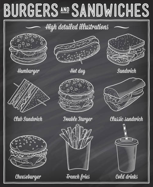 Fast food Illustrations Gorgeous vector illustrations set of different kind of fast food specialties. bread patterns stock illustrations