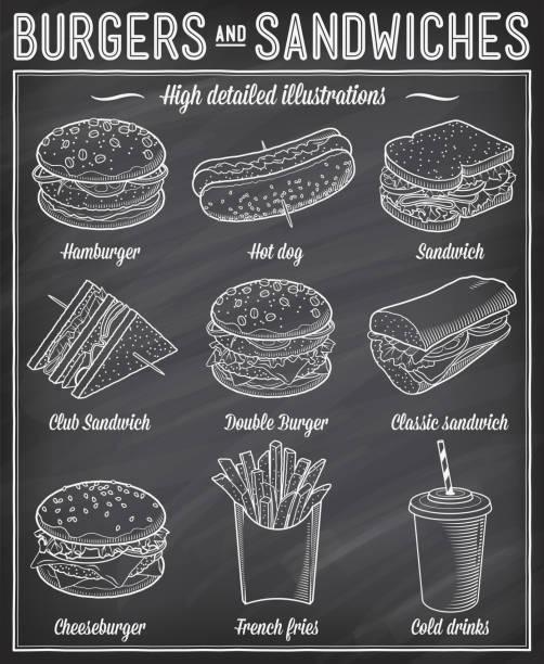 illustrazioni stock, clip art, cartoni animati e icone di tendenza di fast food illustrations - panino