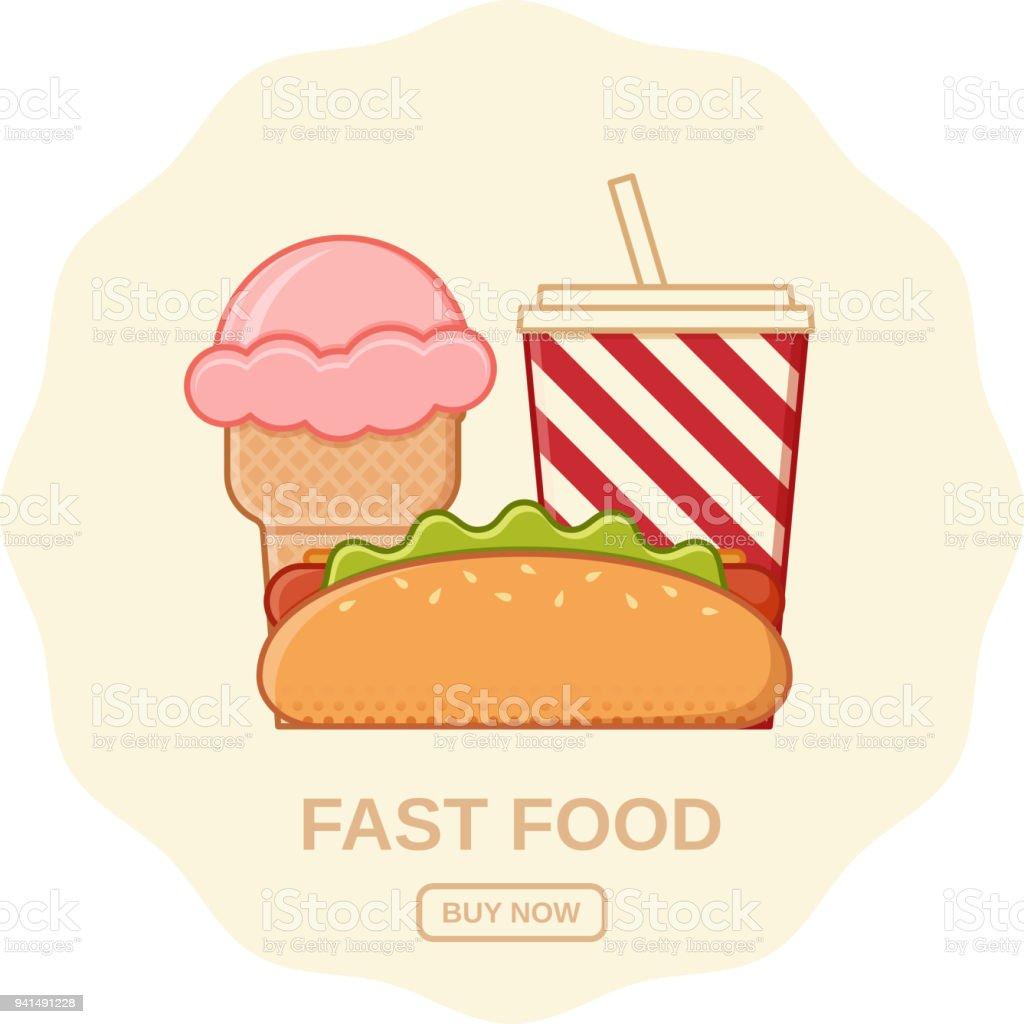 Fast food in flat line art design. Vector illustration.